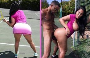 Milf con grandes curvas se folla a su profesor en la cancha de tenis